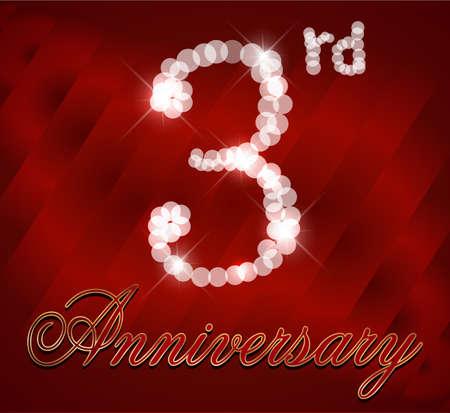 3rd: 3 year happy birthday card, 3rd anniversary sparkles   Illustration