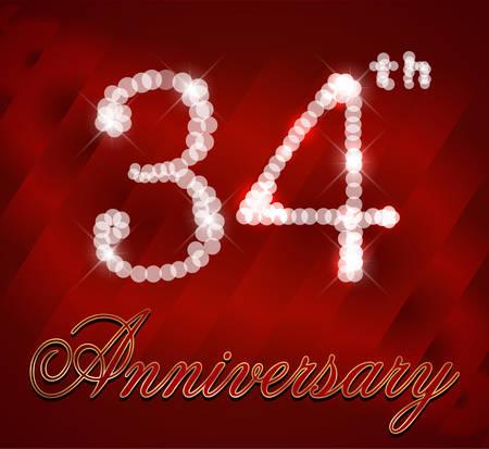 34 Anniversario Di Matrimonio.Tarjeta De Feliz Cumpleanos 35 Anos Destellos Aniversario 35o
