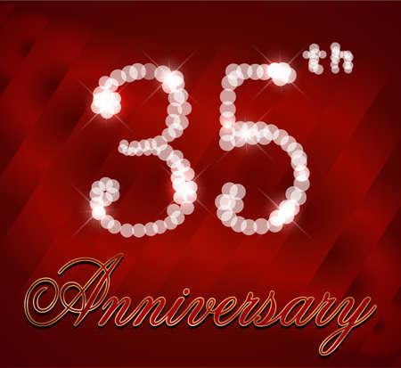 35th: 35 year happy birthday card, 35th anniversary sparkles