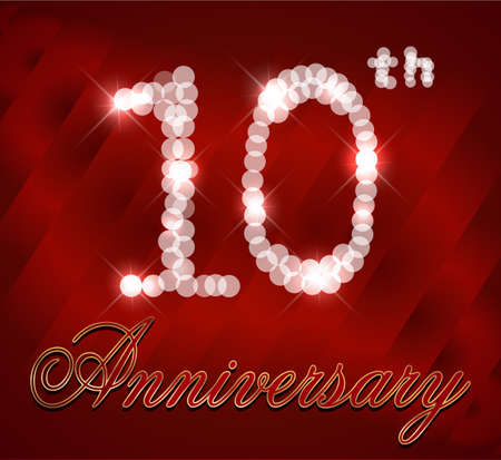 10th: 10 year Happy Birthday Card 10th birthday  vector EPS10