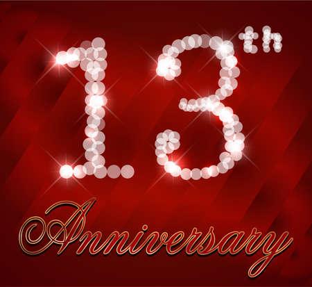 13th: 13 year Happy Birthday Card 13th birthday  vector EPS10