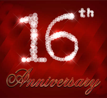 16 Year Happy Birthday Card 16th Birthday Vector Eps10 Royalty Free