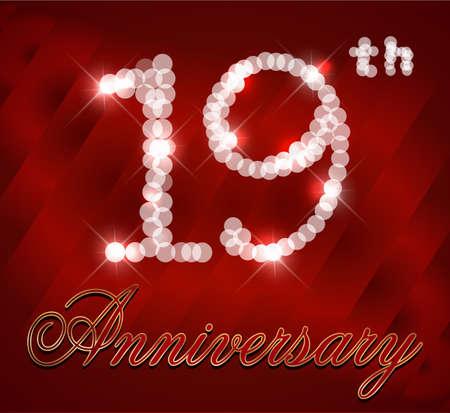 19th: 19 year Happy Birthday Card 19th birthday  vector EPS10