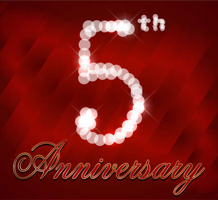 5th: 5 year Happy Birthday Card 5th birthday  vector EPS10