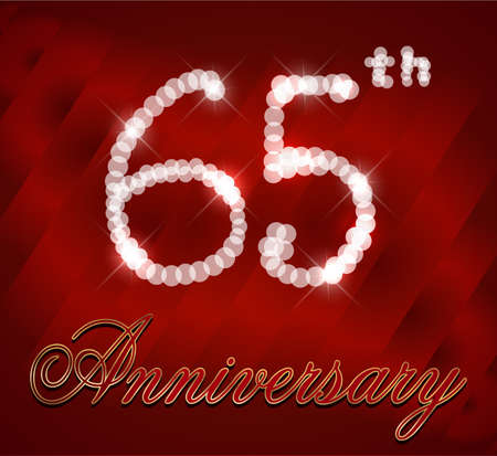 65th: 65 year Happy Birthday Card 65th birthday  vector EPS10