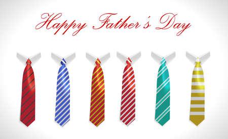 de padres feliz tarjeta del día con el escudo y la corbata conjunto ilustración vectorial eps10