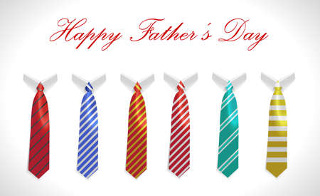 caligraphy: happy fathers day greeting card with coat and necktie set  vector illustration eps10
