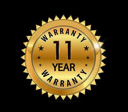 one year warranty: golden metallic 11 year warranty badge  vector eps10 Illustration