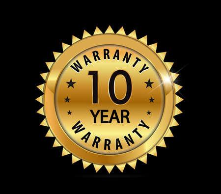golden metallic 10 year warranty badge  vector eps10