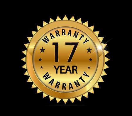 17: golden metallic 17 year warranty badge  vector eps10 Illustration