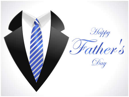 happy fathers day greeting card with coat and necktie  vector illustration eps10 Vectores