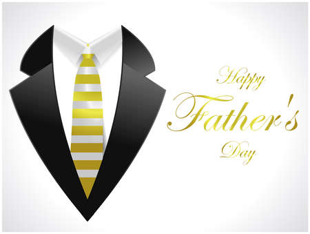 happy fathers day greeting card with coat and necktie  vector illustration Illustration
