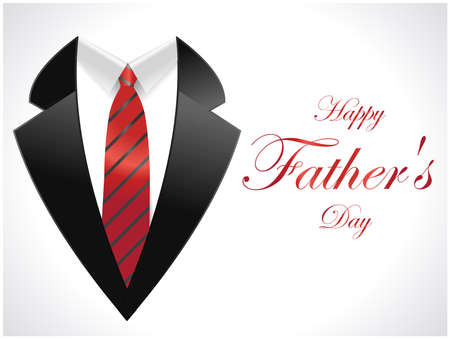 happy fathers day greeting card with coat and necktie  vector illustration