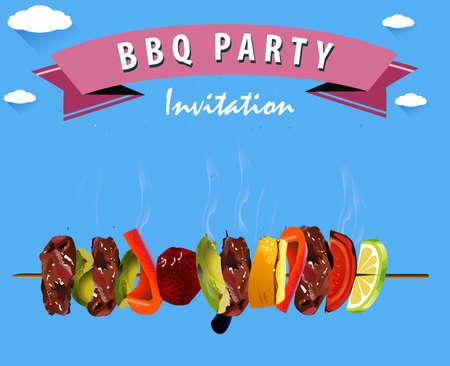 fiesta familiar: Barbacoa, Infografía Barbacoa Menú - vector eps10