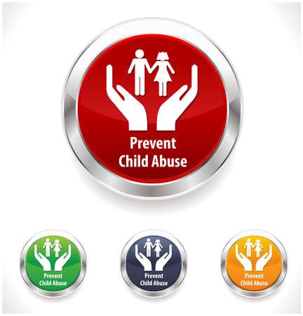 abuso sexual: abuso insignia conciencia acoso infantil, prevenir el maltrato infantil - vector EPS1 Vectores