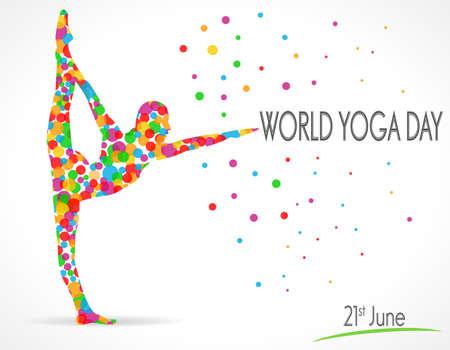 vitality: World Yoga Day vector illustration, white background - vector eps10