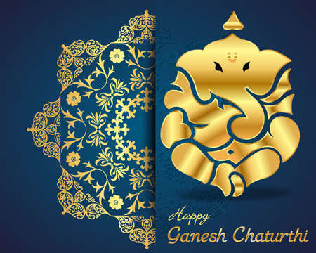 Indian god ganesha, Ganesh idol flat design- vector eps10