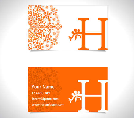 h: Business card with alphabet letter H, creative h letter icon concept