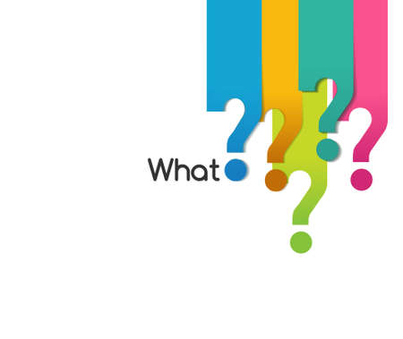 resolve: flat color question symbol of what when where why who how, analysis diagram  Illustration