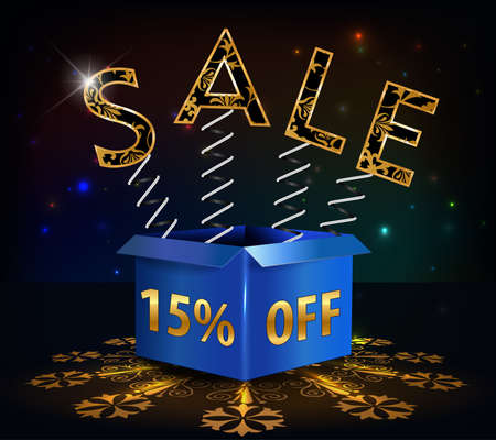 inheritance: 15 off, 15 sale discount hot sale with special offer spring and box - vector EPS10 Illustration