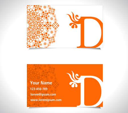 d: Business card with alphabet letter D, creative d letter icon Illustration