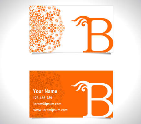 b: Business card with alphabet letter B, creative b letter icon Illustration