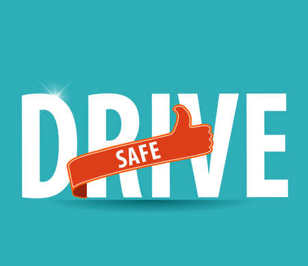 safely: drive safe text icon or symbol - safe driving concept vector