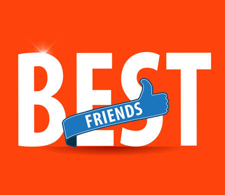 forever: best friends, illustration typography on bright background Illustration