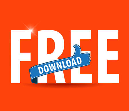 infomercial: modern flat illustration of free download typography with thumbs up sign Illustration