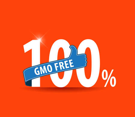 genetically modified organisms: 100 gmo free label Typographic design with flat colors