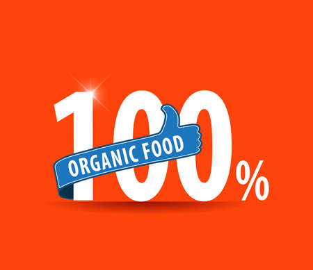 iron ribbon: 100 organic food design over orange background with thumbs up sign - vector eps10