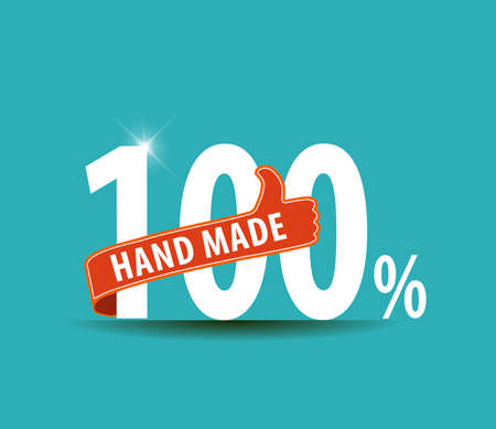 well made: 100 Hand Made typography design with thumbs up sign flat design - vector eps10 Illustration