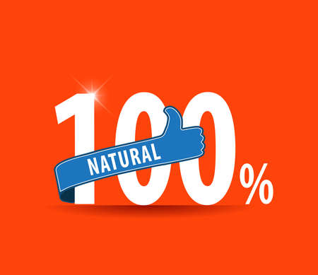 vibrant background: 100 natural food design over vibrant background with thumbs up sign