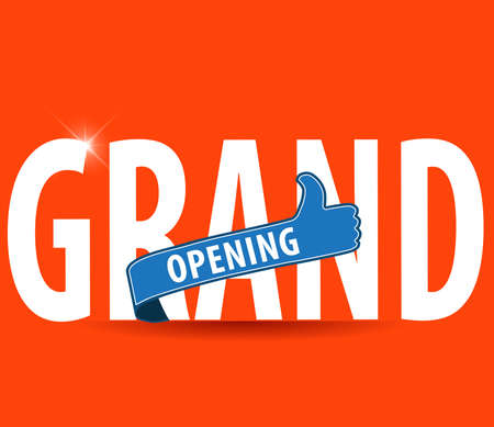 grand sale button: Grand opening typography design over a bright background Illustration