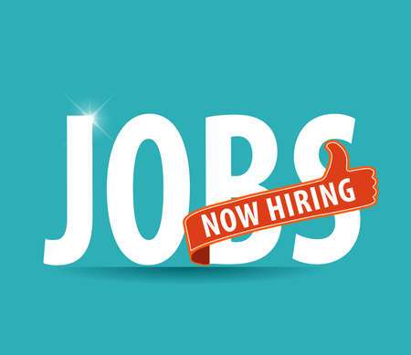 business help: jobs opening now Hiring blue thumbs up advertising job offer and sign with the words Now Hiring isolated, Now Hiring Sign on bright background Illustration
