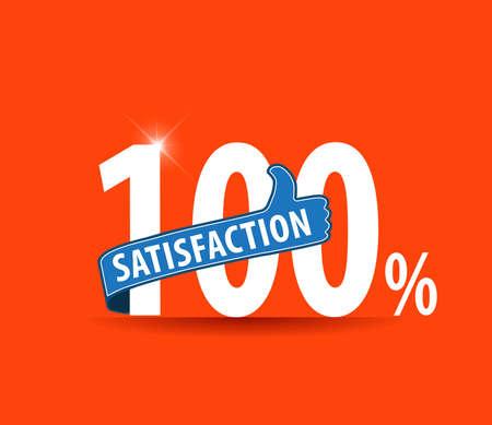 100 Customer satisfaction guaranteed typographic label