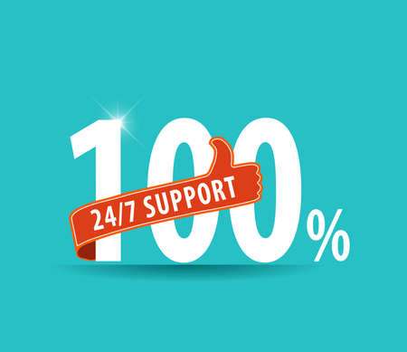 24 hr: modern 24 hours support and service graphic with thumbs up