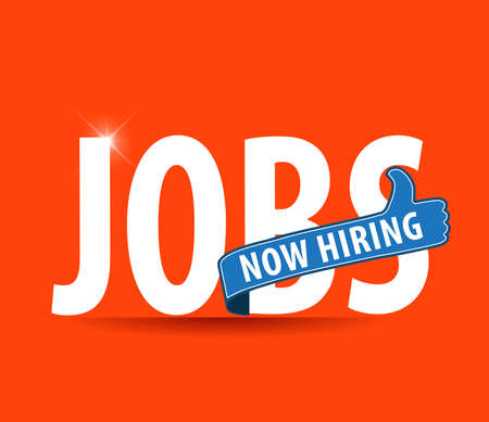 jobs opening now Hiring blue thumbs up advertising job offer and sign with the words Now Hiring isolated, Now Hiring Sign on bright background Illustration