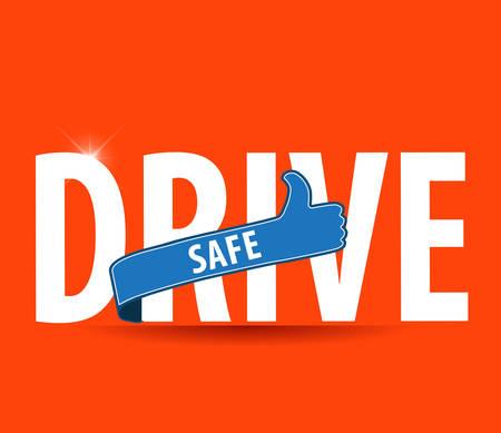 Conducir icono de texto segura o símbolo - conducción segura vector de concepto Foto de archivo - 44511582