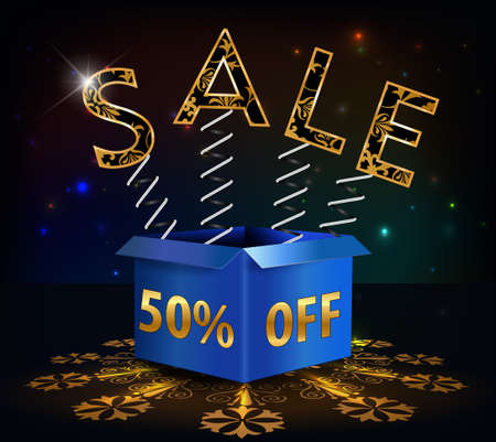 inheritance: 50 off, 50 sale discount hot sale with special offer spring and box - vector EPS10