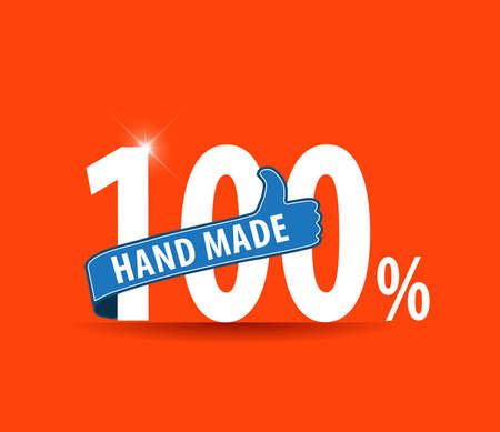 well made: 100 Hand Made typography design with thumbs up sign - vector eps10