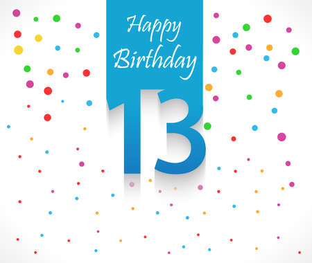 13th: 13 years Happy Birthday background or card with colorful confetti with polka dots-vector eps10