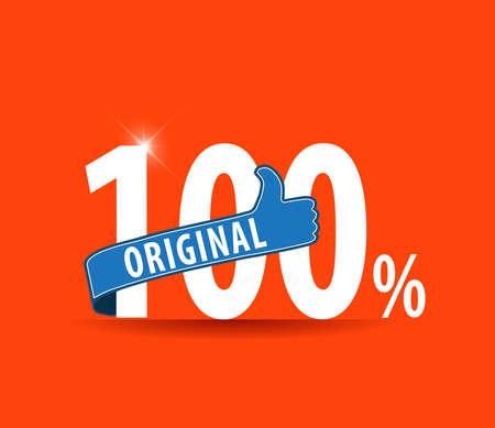 100 percent original with thumbs up label typographic design- vector eps10