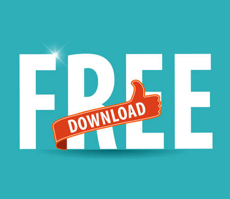 infomercial: modern flat illustration of free download typography with thumbs up sign -vector eps10