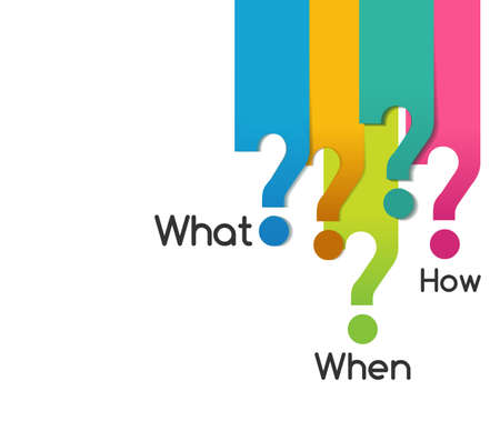 mente humana: color plano pregunta símbolo de lo que, cuando, donde la razón por que cómo, diagrama de análisis - vector eps10