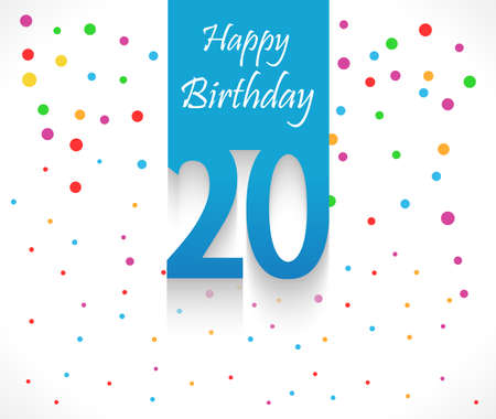 20 years Happy Birthday background or card with colorful confetti with polka dots-vector eps10