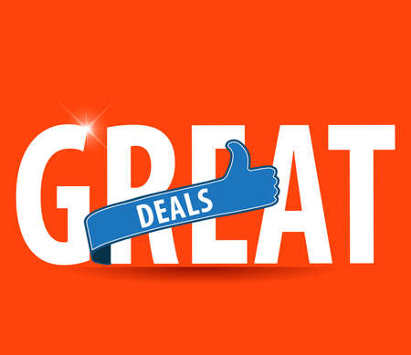 Great Deals Colorful Vector Icon Design with thumbs up sign - vector eps10