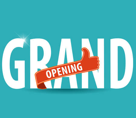 open: Grand opening typography design over a bright background, vector illustration