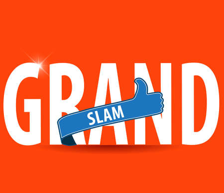 slam: Grand Slam typography with thumbs up and bright background - vector eps10
