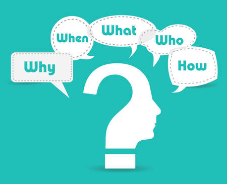 Colorful flat design speech paper and question bubbles with text why, where, who, when, how, what. Illustration